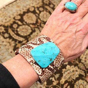 Large Turquoise Snake Cuff One Size Fits Most